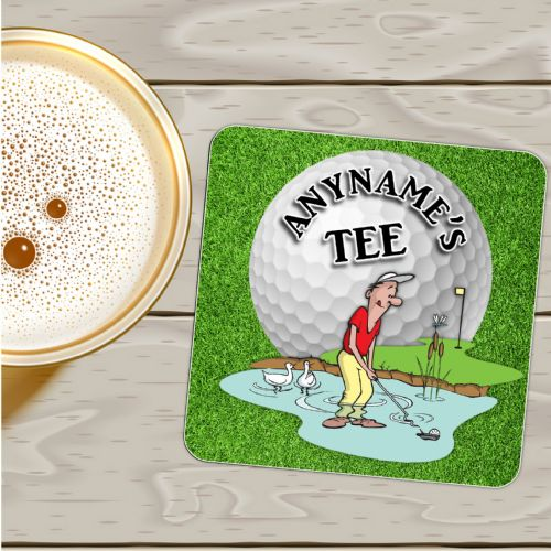 Personalised Coaster N9 - Birthday, Christmas Fathers Day Gift - Golf Tee Mat